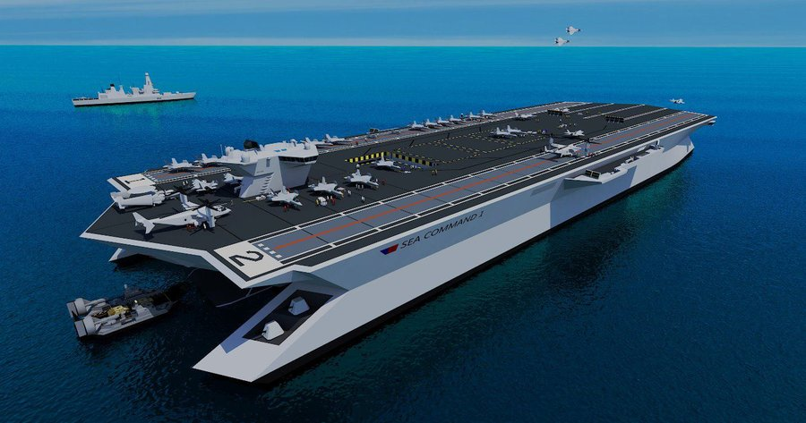 Trimaran Aircraft Carrier http://2g.pantip.com/cafe/wahkor/topic/X13033196/X13033196.html